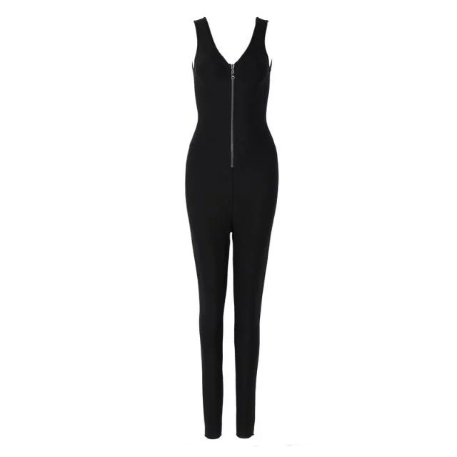 Top Quality Women Sexy Black Bodycon Bandage Jumpsuit 2016 Elegant Knitted Designer Jumpsuits