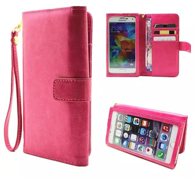 Hand Strap Card Wallet Touch Screen Mobile Phone Leather Case Bags Pouch For BlackBerry Aurora,LeEco Le Pro3 Elite,Oppo F3 Plus