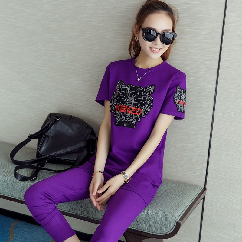 Clothes For Women New 2016 Casual Slim Suit Female Summer Fashion Cotton Shirt+Pants Tracksuit For Women S20445
