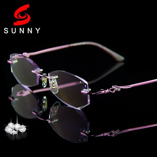 High Clear Glasses Frame For Women Reading Glasses Crystal Rimless Optical Eyeglasses Lady Luxury Quality Rhinestone Glasses 069