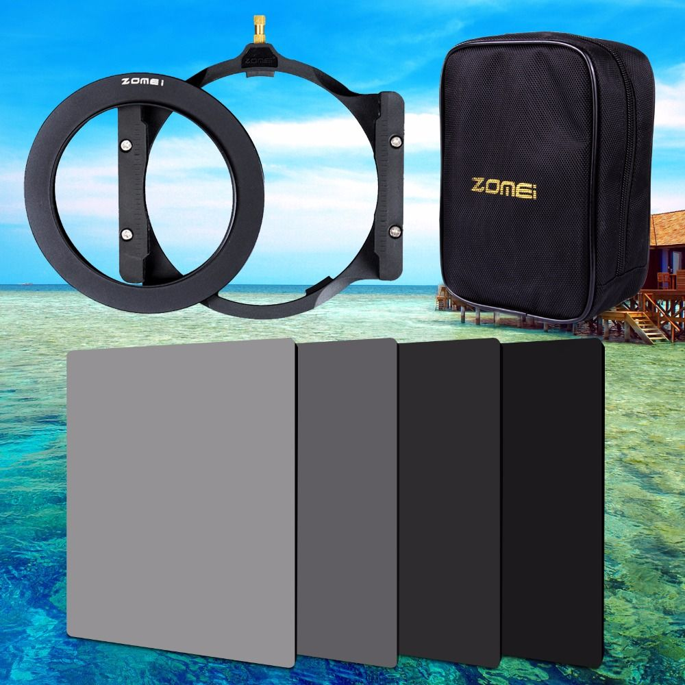 Zomei 150*100mm ND ND2 ND4 ND8 ND16 Neutral Density square filter holder 16 pieces case adapter ring 67mm 72mm 77mm 82mm