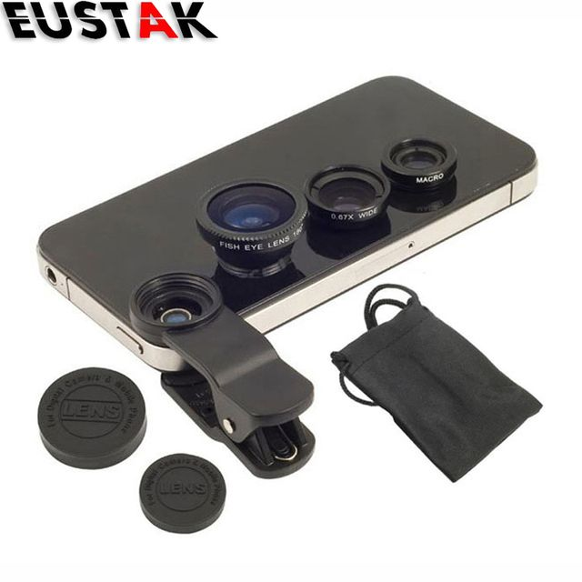 On sales 3 In1 Clip-on Mobile Phone Lens Camera kit for iPhone 6 6s plus 5s for Samsung s6 edge plus Fish Eye Macro Wide Angle