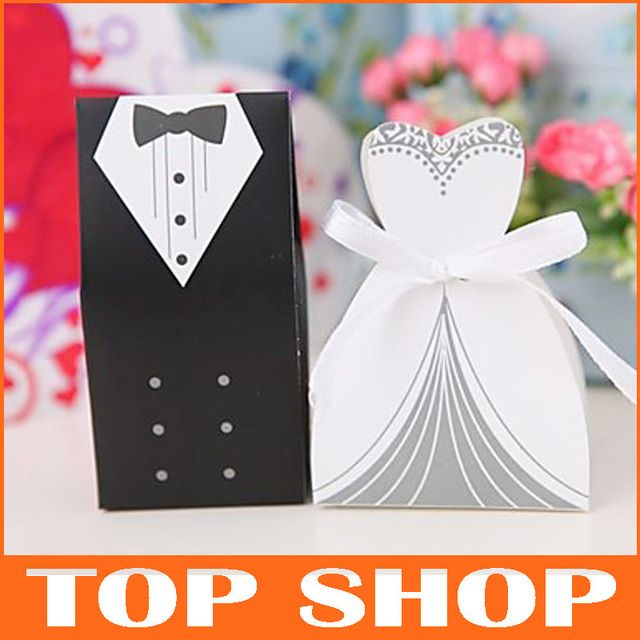 Candy Box Chocolate Sweet Wedding    Paper White And Black  And American Design Wedding Favor Box  HQ0003