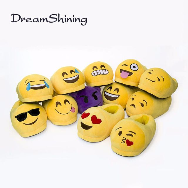 DreamShining Emoji Slippers Cartoon Plush Slipper Home With The Full Expression Women/ Men Slippers Winter House Shoes One Pair