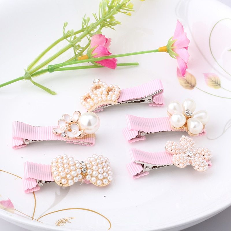 New Baby Hair Clips Crown Pearls Hairpins Children Hair Accessories Protect Well Wrapped Bow Pearls Princess Barrette Hairpins