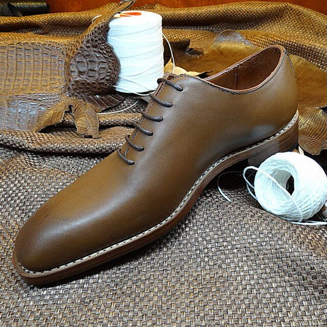 LA04 Custom Italian Goodyear Shoes SquareToe Handmade Men's Dress Wedding Shoes Size EU37-45 Size genuine leather insole&sole