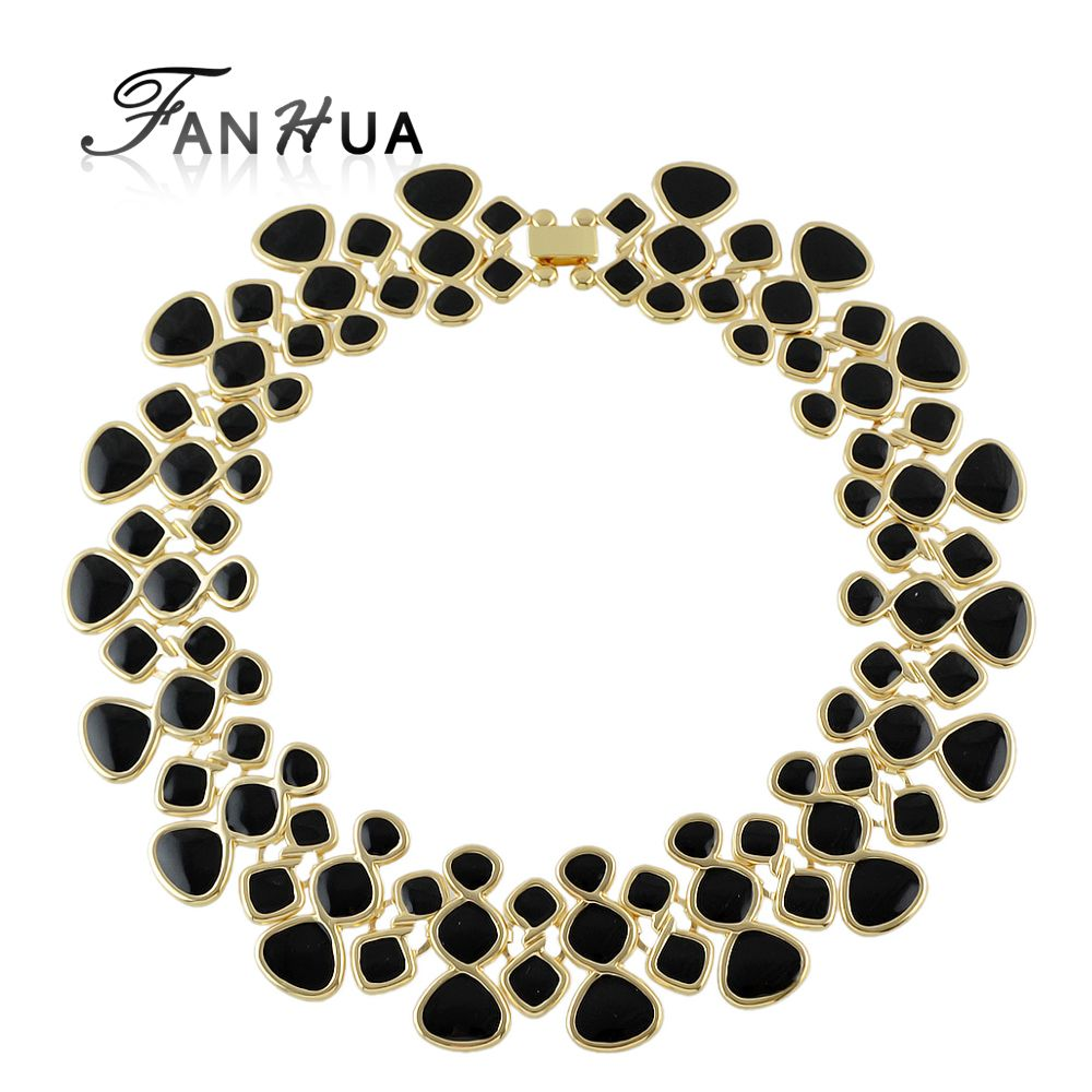 Statement Necklaces Collares Gold Color Black Blue Purple Green Enamel Maxi Collar Choker Necklaces For Women
