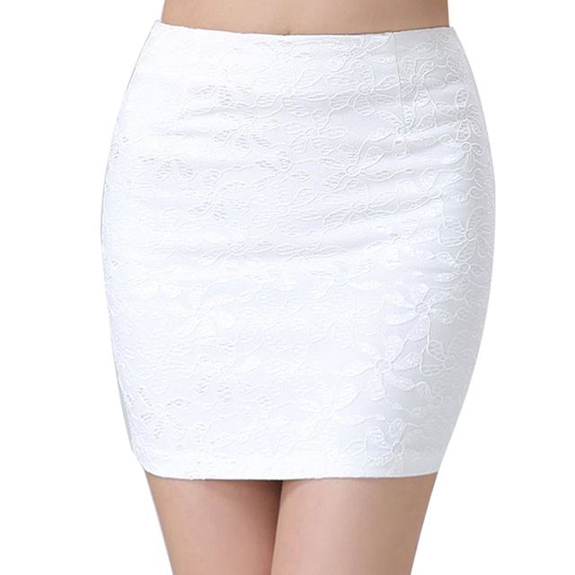1 Pc Summer Women Mini Bodycon Pencil Skirt Lace Black White Sexy Stretch Tight Tube Bandage Slim Short Dress H2125