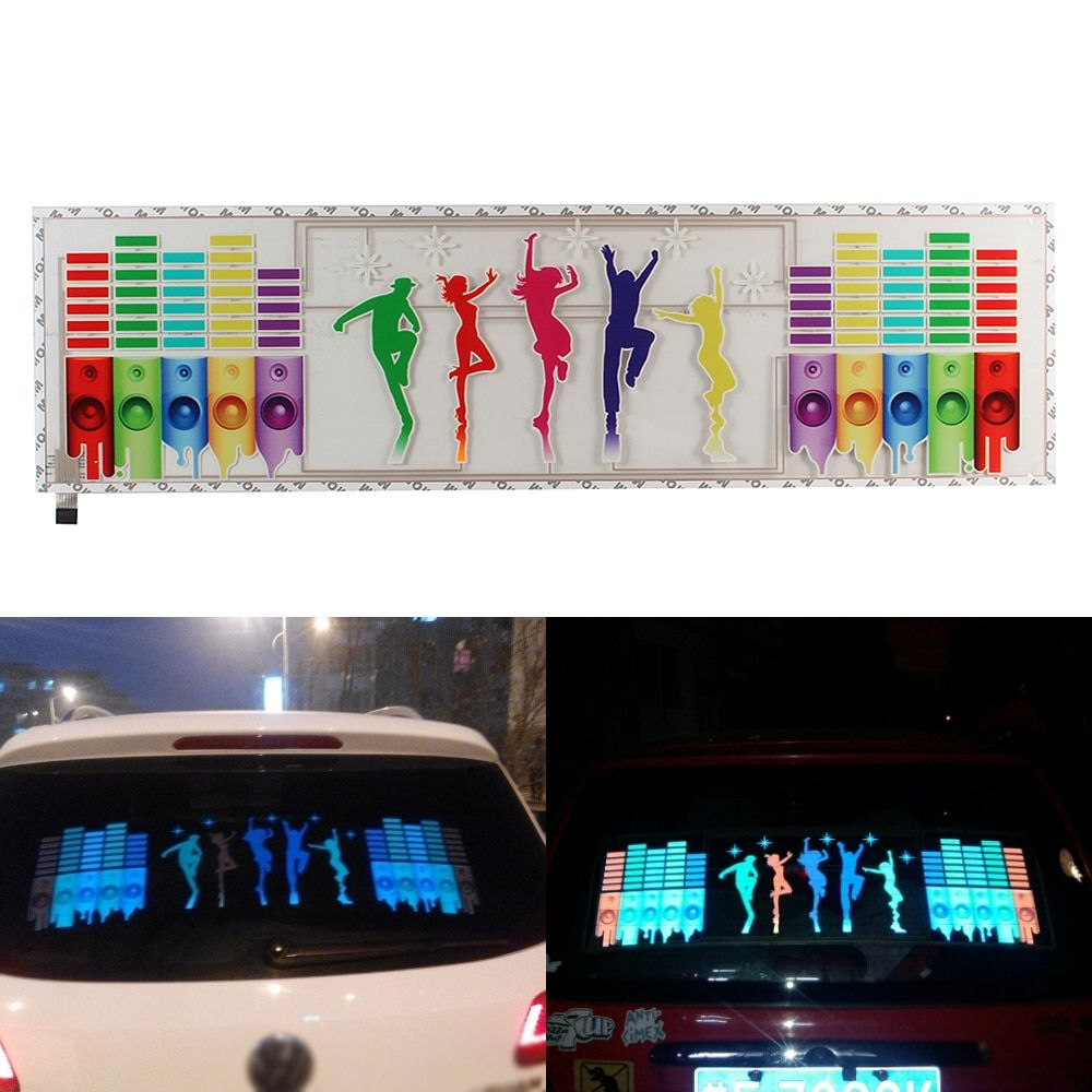 Car Sound Activated Light Dance Pattern 90cm*25cm Car Sticker Colorful Music Rhythm LED Flash Lamp Car Accessories