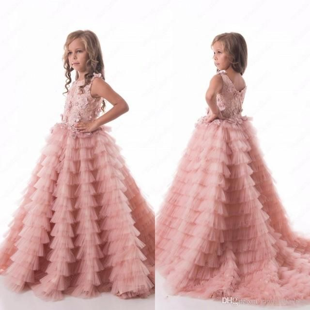 2017 Luxurious Blush Pink Flower Girls Dresses for Weddings Ruched Tiered Puffy Girl Pageant Dresses Party Gown Sweep Train F207