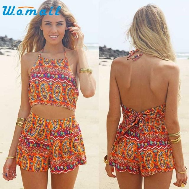 New Arrival Women Floral Backless Frenum Chiffon Bodycon Jumpsuit Short Pant jy5