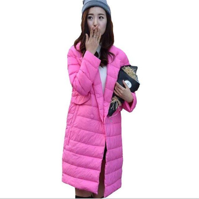 New Women Winter Long Thin Jacket Elegant Ladies Suit collar Jackets Female Duck Down Coat Warm Parkas manteau femme JA190