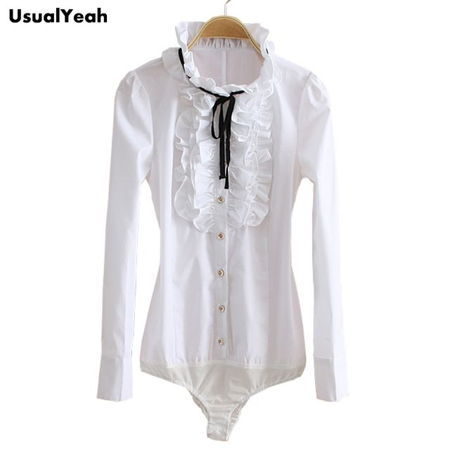2017 New style Ladies stand collar White Shirt women's long-sleeve Ruffles OL Body shirt Blouse Bluas SY0059 S-XL
