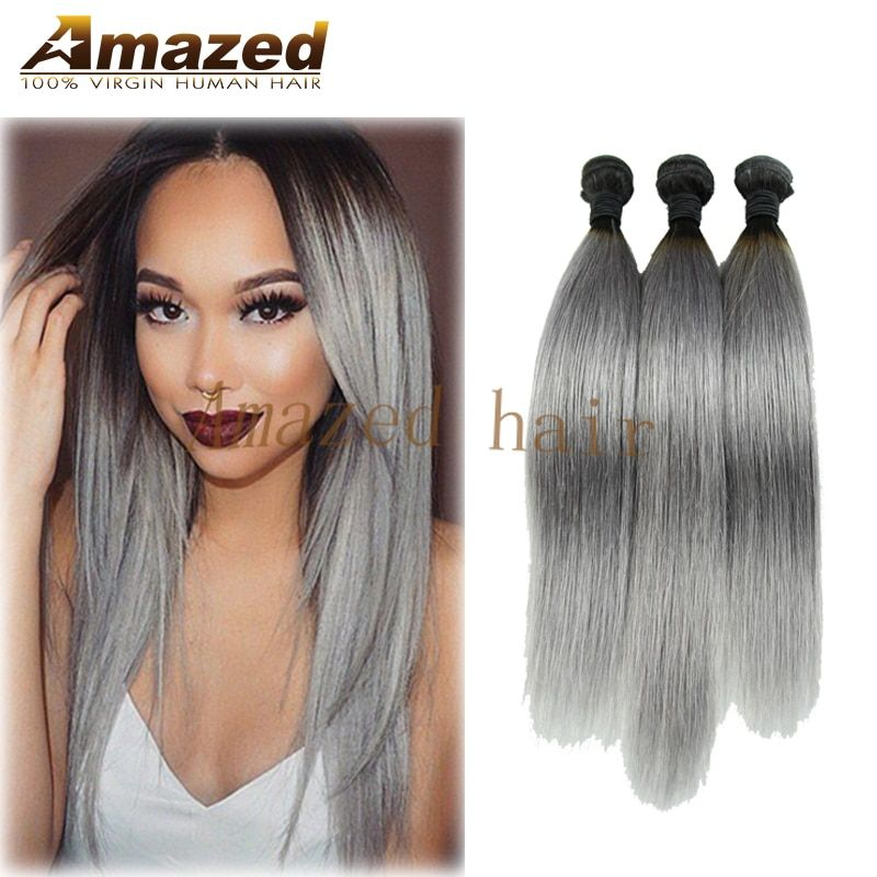 Hot Sale Ombre Silver Brazilian Virgin Hair 3 Pcs Ombre Grey Hair Weave Straight Two Tone 1B/Gray Ombre 7A Brazilian Human Hair