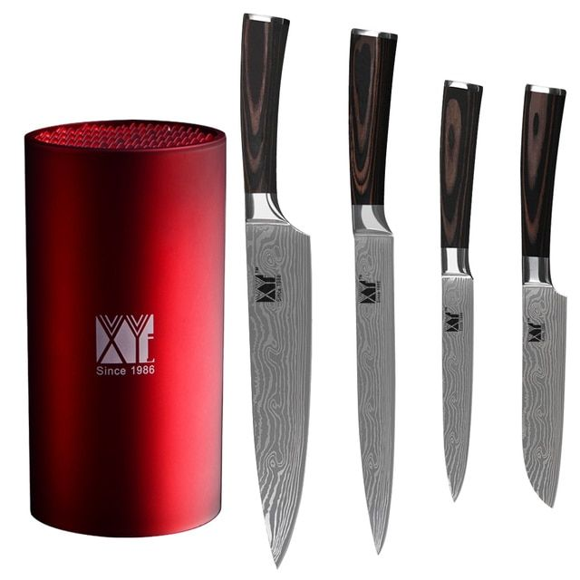 XYj Brand 5pcs Set 7Cr17 Stainless Steel Knife Utility Santoku Chef Slicing Knife And Kitchen Knife Stand Hot Sale Tool Holder