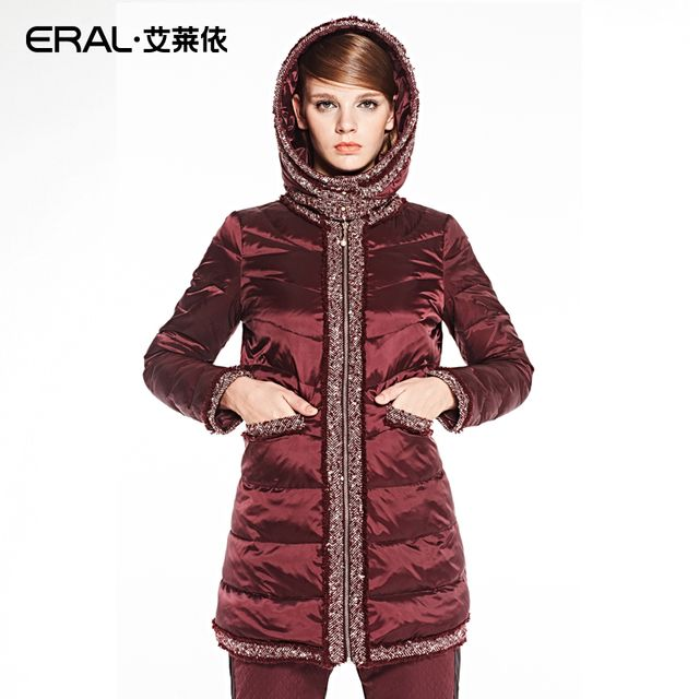 ERAL 2016 New Arrival Winter Coat Women's Slim Medium-long Embroidery Tassel Thick Down Jacket with a Detachable Hood ERAL6039C
