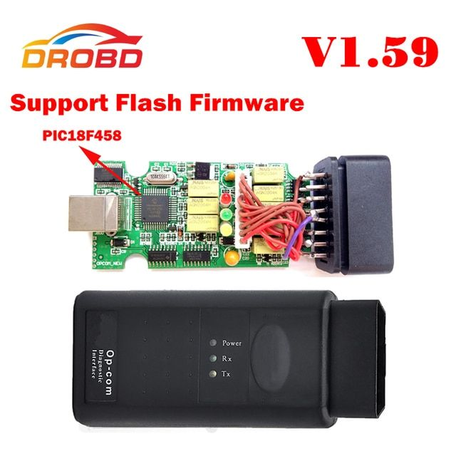 V1.59 Version OP COM Diagnostic Tool OBD2 Scanner with Real PIC18F458 Chip OP-COM/OPCOM For OPEL VAUXHALL Support Flash Firmware