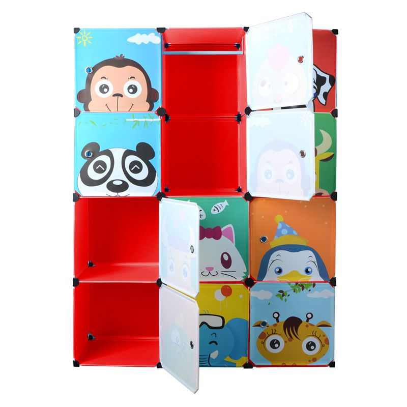 DI Ycartoon hanging clothes wardrobe extra large eco-friendly Wire combined type child simple cabinet wardrobe storage box