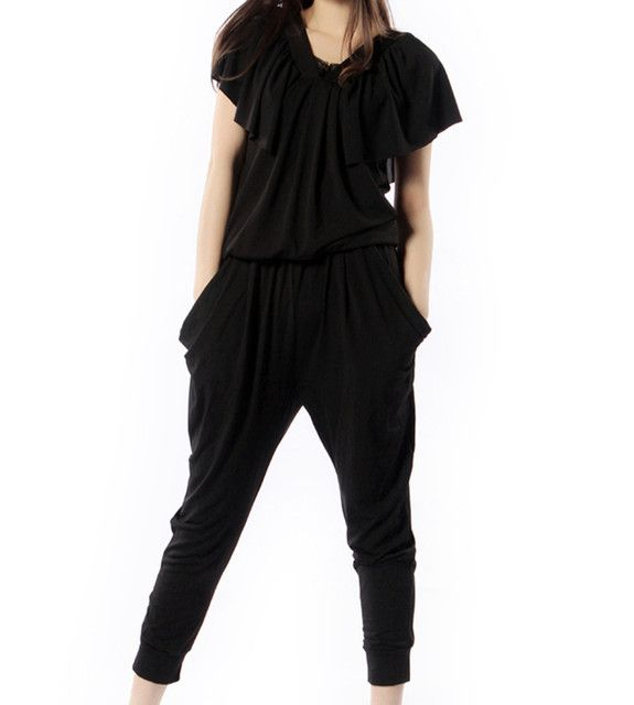 Free Shipping 2017 New Fashion Jumpsuits Rompers For Women Summer Harem Pants Black Loose Plus Size 6XL Black Short Sleeve Pants