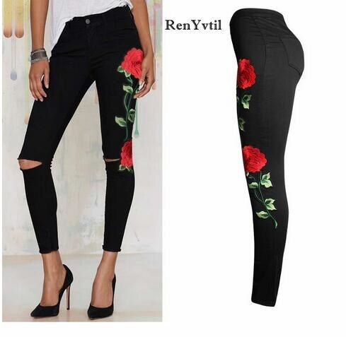 RenYvtil 3XL New 2017 Women's Vintage Embroider Flowers jeans Sexy Ripped Pencil Stretch Denim Pants Female Slim Skinny Trousers