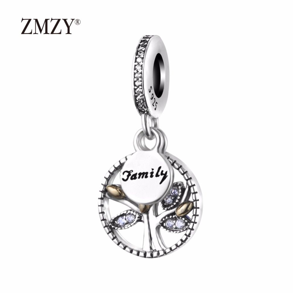 ZMZY Authentic 925 Sterling Silver Charms Family Tree Pendants Clear Cubic Zirconia Beads Fits Pandora Charm Bracelet Making