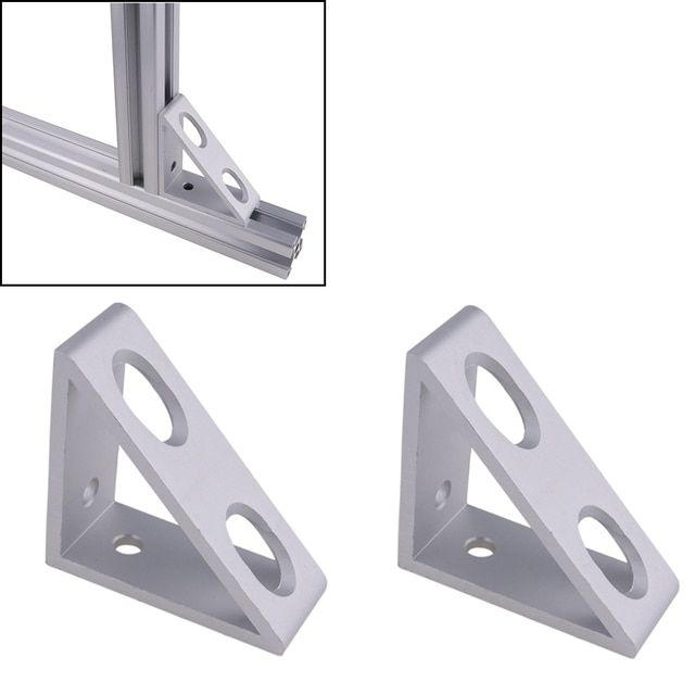 4 hole Inside Guesset Corner Angle L Brackets Fastener Fitting Round Hole for 3030 30x30 Aluminum Profile Extrusion (pack of 2)
