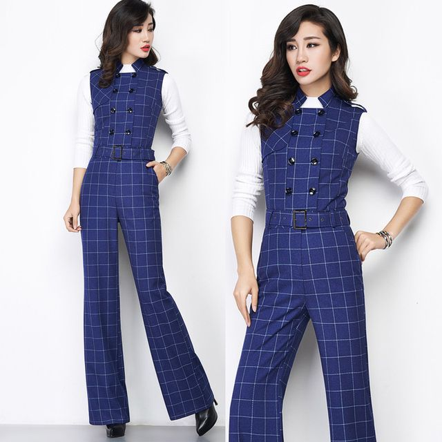 Autumn Spring Fashion Womens Blue Plaid Sleeveless Wide Leg Overalls , Jumpsuits , Fall Casual Elegant Slim Jumpsuit For Woman