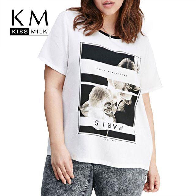 Kissmilk 2017 Women Plus Size Big Large Size 3XL 4XL 5XL 6XL Casual Loose White Cartoon Print Slim T-shirt