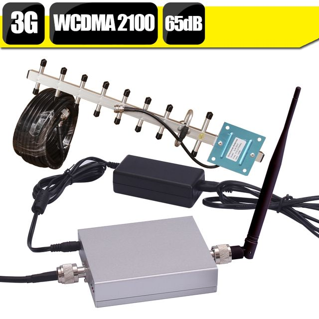 CE FCC 65dB Gain 3G WCDMA 2100mhz Cell Phone Signal Amplifier UMTS 2100 Repetidor Sinal Celular Mobile Booster+3G Yagi Antenna
