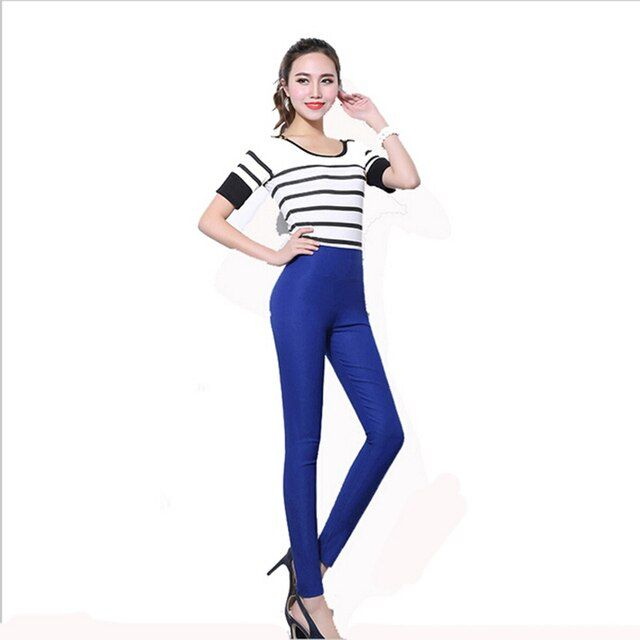 New 2017 candy color spring autumn trousers women stretch skinny pencil pants women plus size 5xl 6xl casual high waist pants