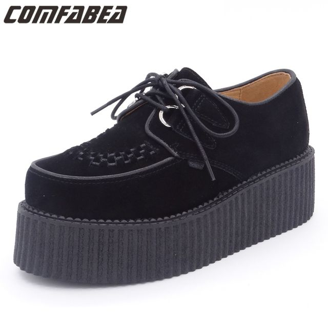 Spring Autumn 2019 Men Shoes Creepers Genuine Leather Casual Shoes Flat Platform Black Shoes Suede Platform Shoes Lace Up