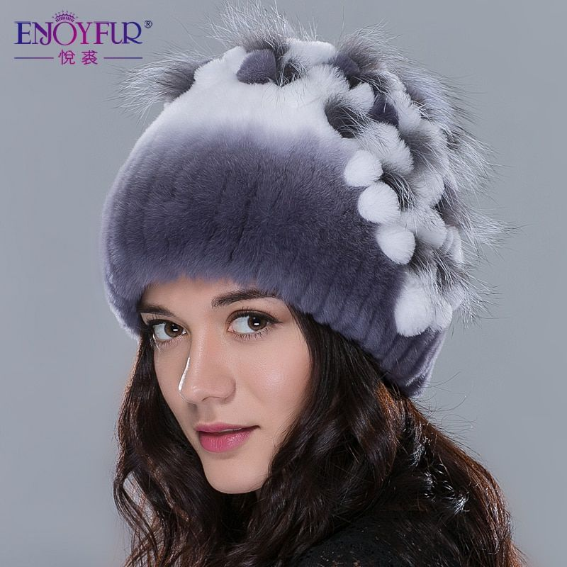 ENJOYFUR Winter women fur hat knitted rex rabbit fur caps with fox fur flowers striped fur beanies fashion women casual hats