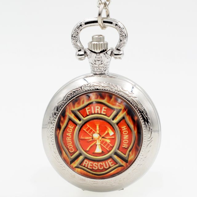 COURAGE FIRE HONOR RESCUE Firefighters Black/Silver/Bronze Quartz Pocket Watch Analog Pendant Necklace Boy Girl Chain Gift