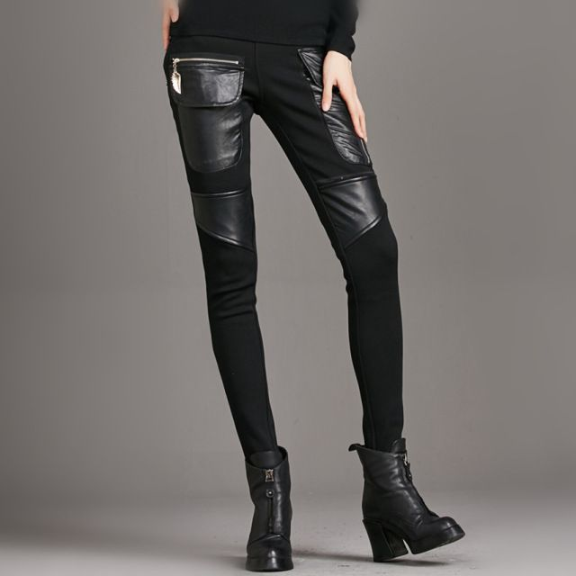 Hot sale 2016 autumn winter Women casual Pants Pu Leather Thick velvet stitching bottoming stretch Slim sexy cool pencil pants