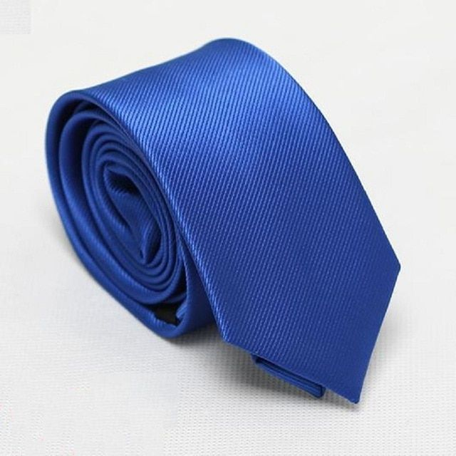 fashion solid men's slim ties blue neck skinny ties 6cm width