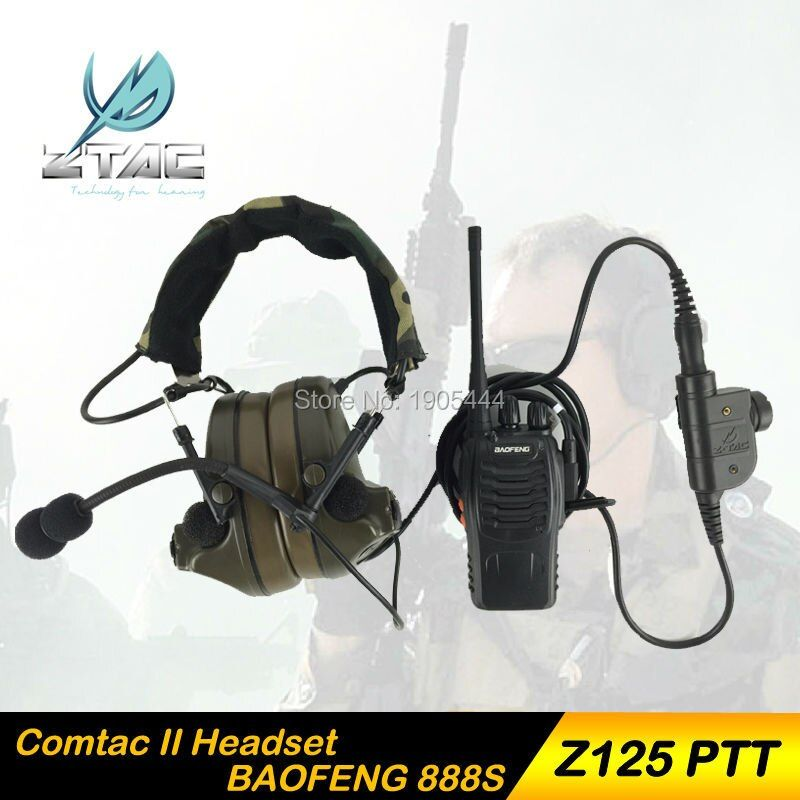 Z 041 Earphone Element Z-Tactical Comtac II Airsoft Paintball Hunting Z-TAC Headset With Z125 PTT kenwood With Radio Set