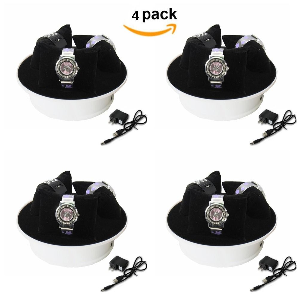 4pack  8 Inches Motorized Rotating Display Stand Turn Table with Black Felt Top for Jewelry Hobby Collectible Product