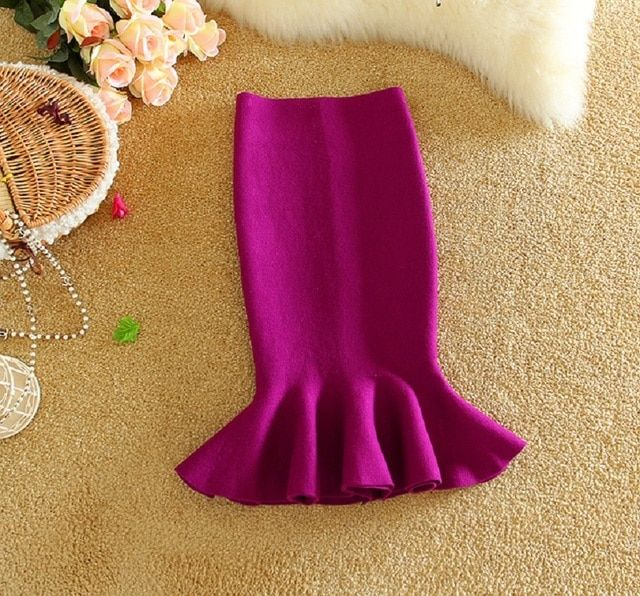 New stylish women's knitted skirt with frill hem and fish tail to choose different color