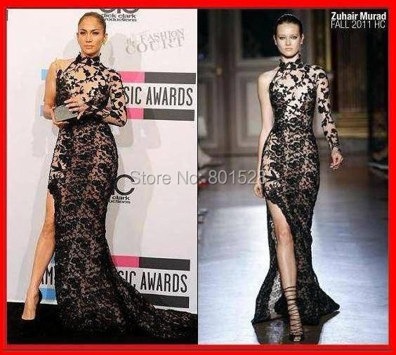 Sexy High Neckline One Shoulder Long Sleeve Black Jennifer Lopez Dress Mermaid Lace Celebrity Dress with Side Slit Evening Dress