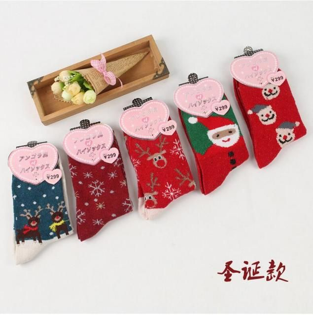 1pc Free shipping Women's Socks Short Christmas Gift Sock Winter Rabbit Wool 3d ladies cute Socks Female Thermal Warm Socks