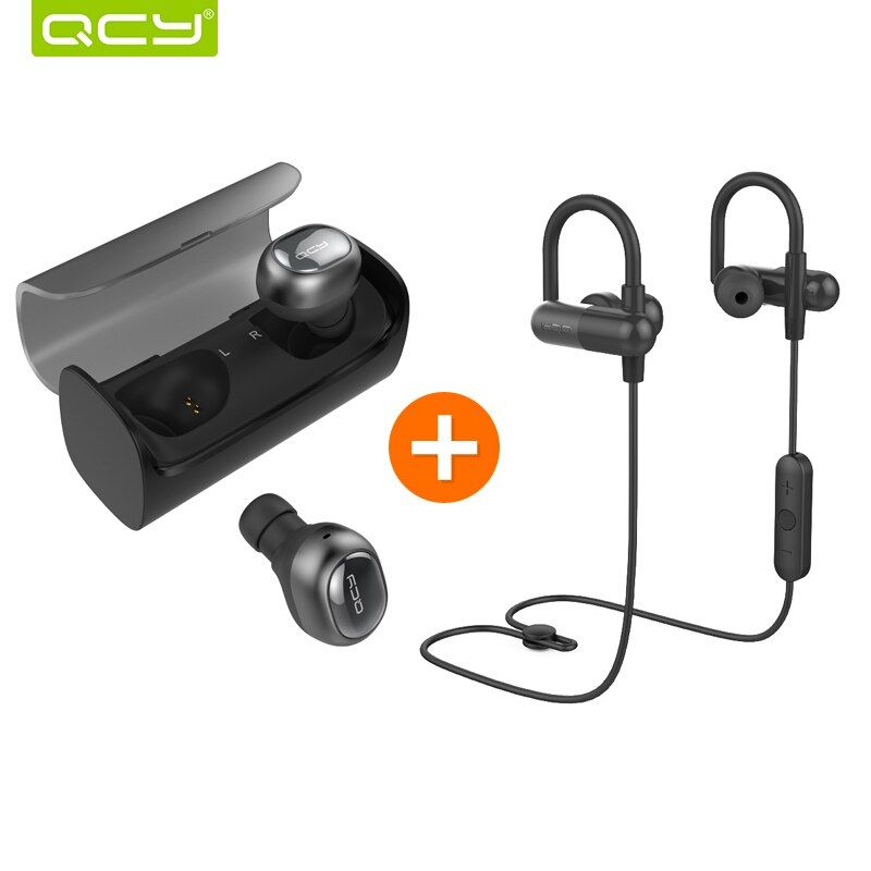 QCY Q29 3D stereo earphones mini wireless headset bluetooth 4.1 noise canceling earbud and QY11