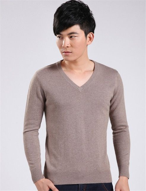 New 2015 Men Casual Cashmere Sweater Winter V-Neck Business Knitted Pullover Fashion Male 7 Solid Colors KNitwear Jumpers