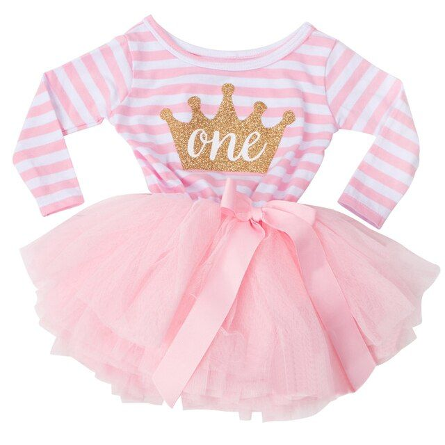 Little Girl Stripe Tutu Dress For Baby Kids First Birthday Party Dresses Long Sleeve Infant Girl Clothing Age 1 2 Years Old Girl