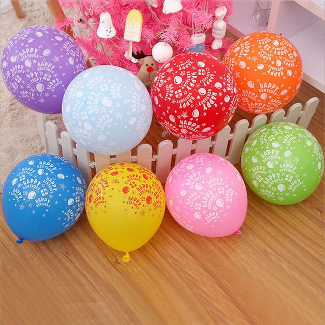 100PCS 12inch  balloon latex inflatable round helium balloon kids toys birthday print 18 birthday party decoration
