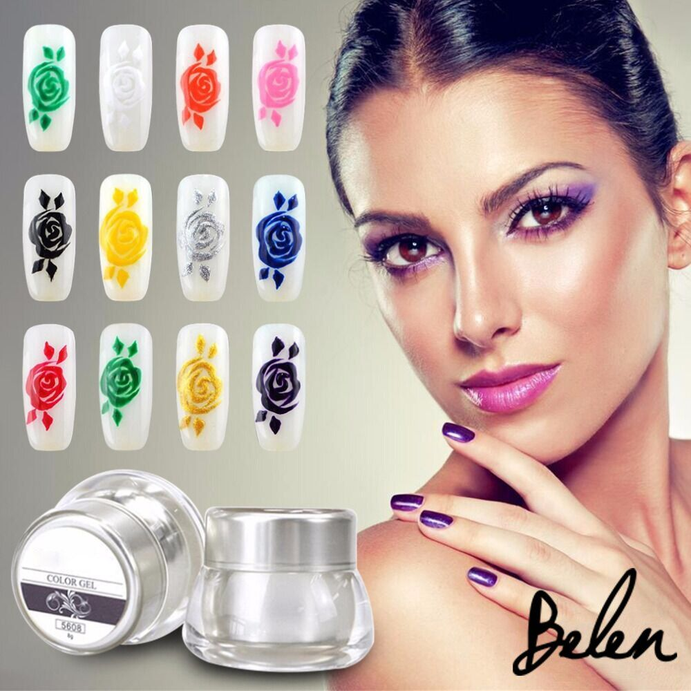 12 Different Colors Gel 3D Nail Art Paint Draw Painting Color UV Gel DIY Color Art On False Tips Acrylic Nail Art Polish Kit Set