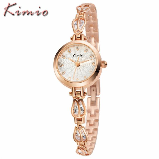 KIMIO 2017 New Women Bracelet Watches Luxury Brand Fashion Dress Ladies Flowers Steel Bracelet Clock Quartz Watch Relojes Mujer