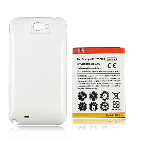Free Shipping Phone Replacement Extended 6500mAh Battery + White Back Cover For Samsung Galaxy Note 2 II N7100 Wholesale