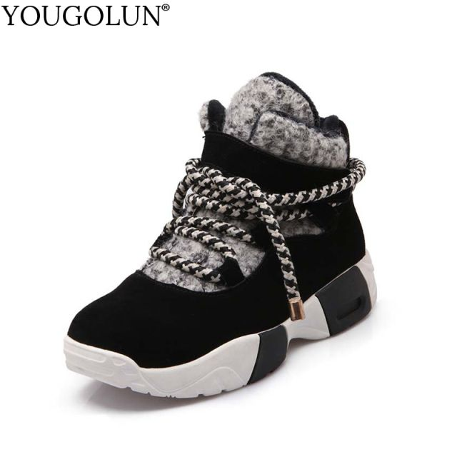 YOUGOLUN Ankle Boots For Women Cow Suede 2018 New Winter Lady Snow Boots Cross Tied Mixed Colors Wedges Black Warm Shoes #Y-001