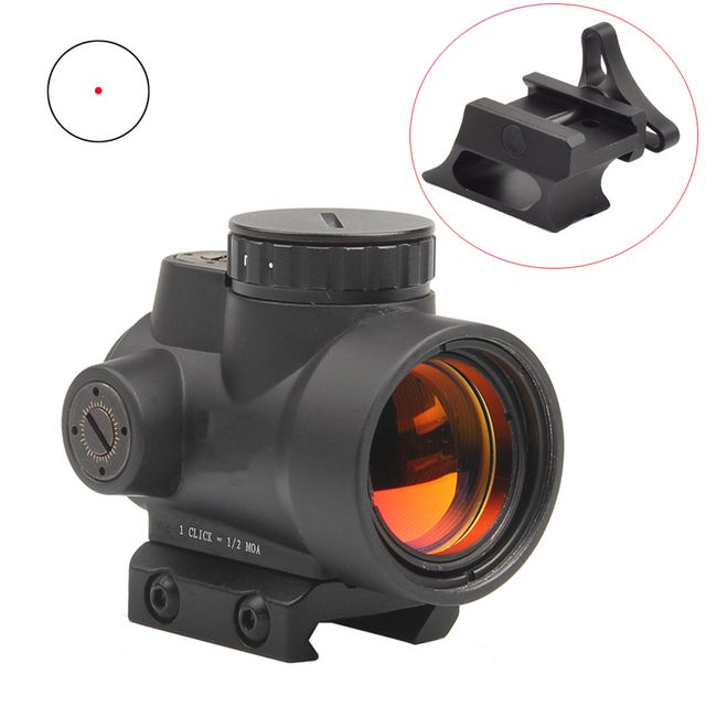 Tactical MRO Style 1x Red Dot Sight 8 Brightness settings Scope Shotgun Scope Hunting Riflescope Mount 20MM HT5-0036