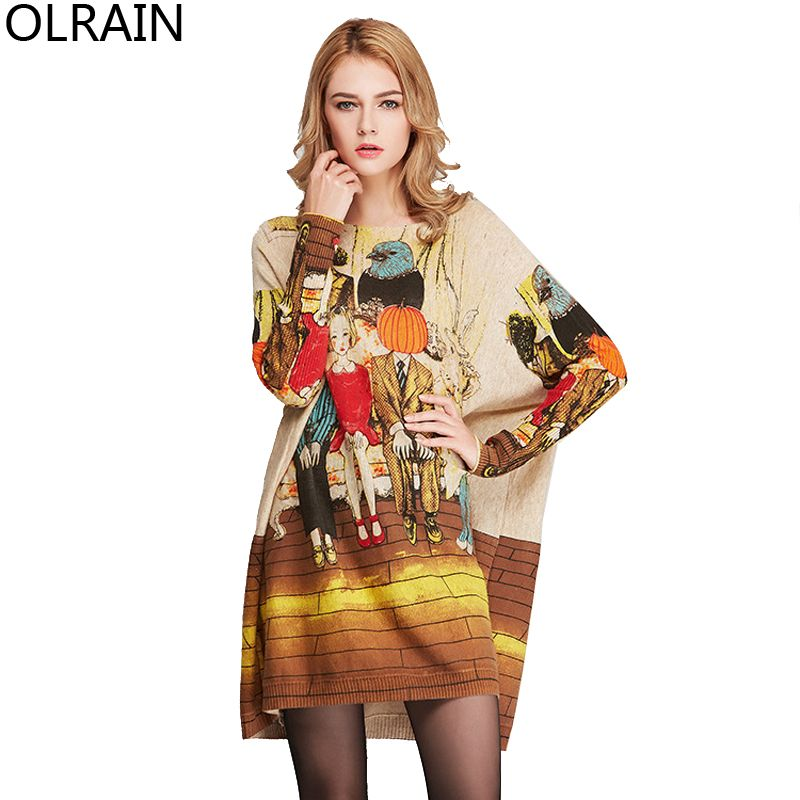 Olrain Women's Oversized Floral Print Long Knitted Tops Pullovers Casual Loose Plus Size Sweater High Quality